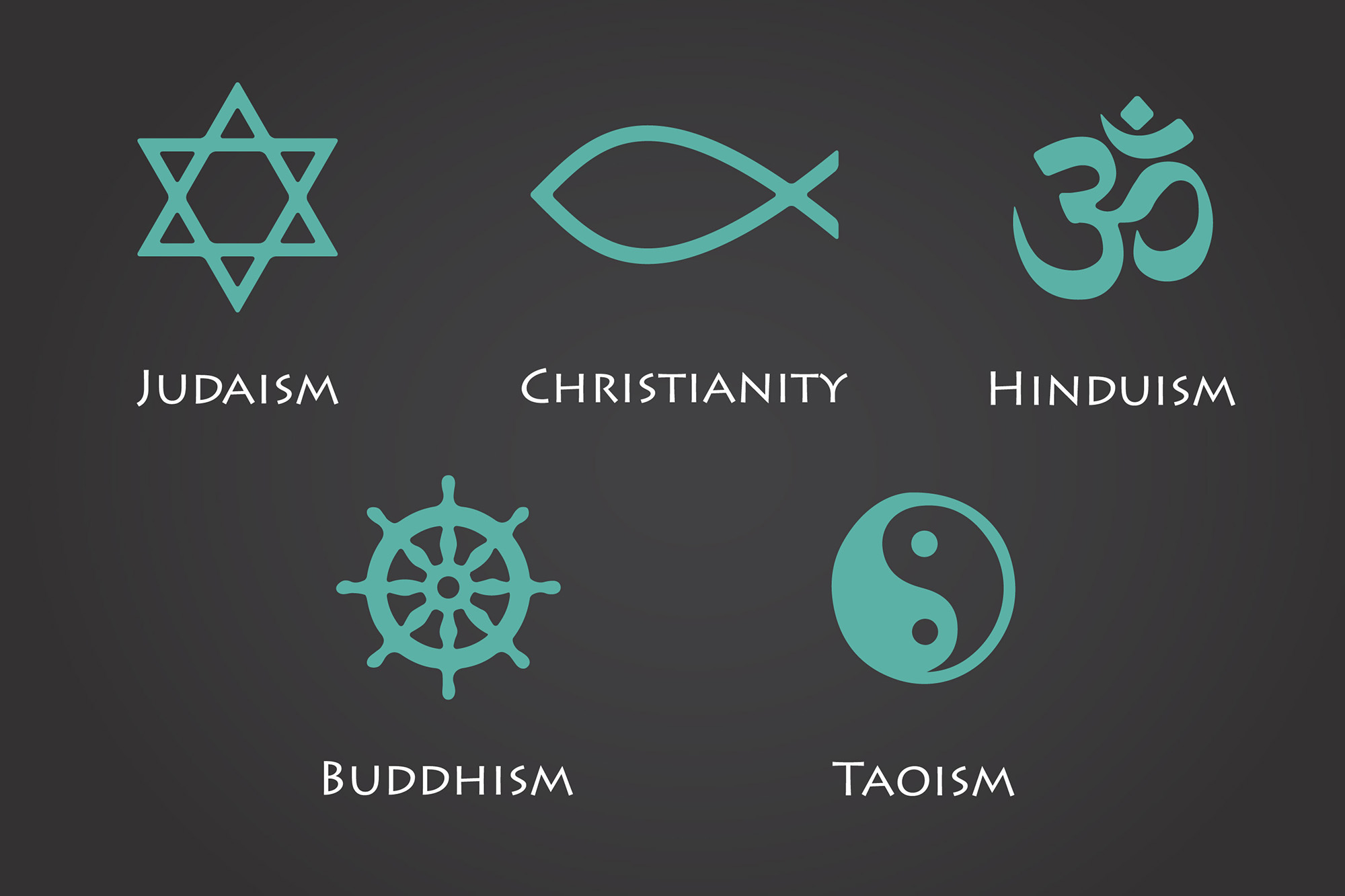 Selected world religion symbols. (Getty Images)