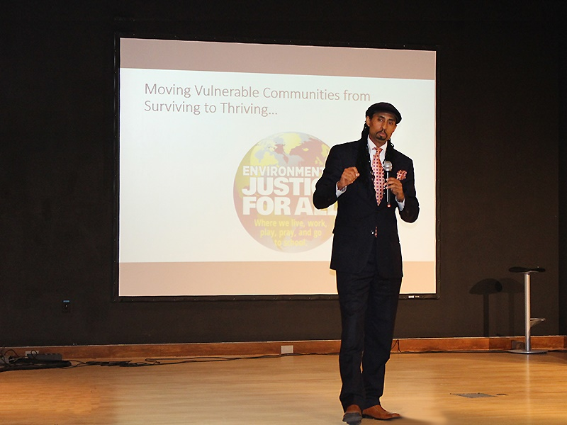 """""""Your zip code should not determine how long you live,"""" stressed the summit's keynote speaker, Mustafa Santiago Ali, of the U.S. Environmental Protection Agency (Photo: CICATS)."""
