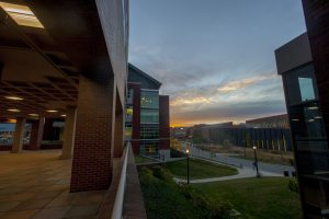 View of Fairfield Way with a sunset on Nov. 10, 2016. (Sean Flynn/UConn Photo)