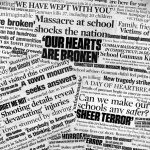 A collage made up of newspaper clippings pertaining to the December 2012 school shooting massacre in Newtown, Conn. (Getty Images)