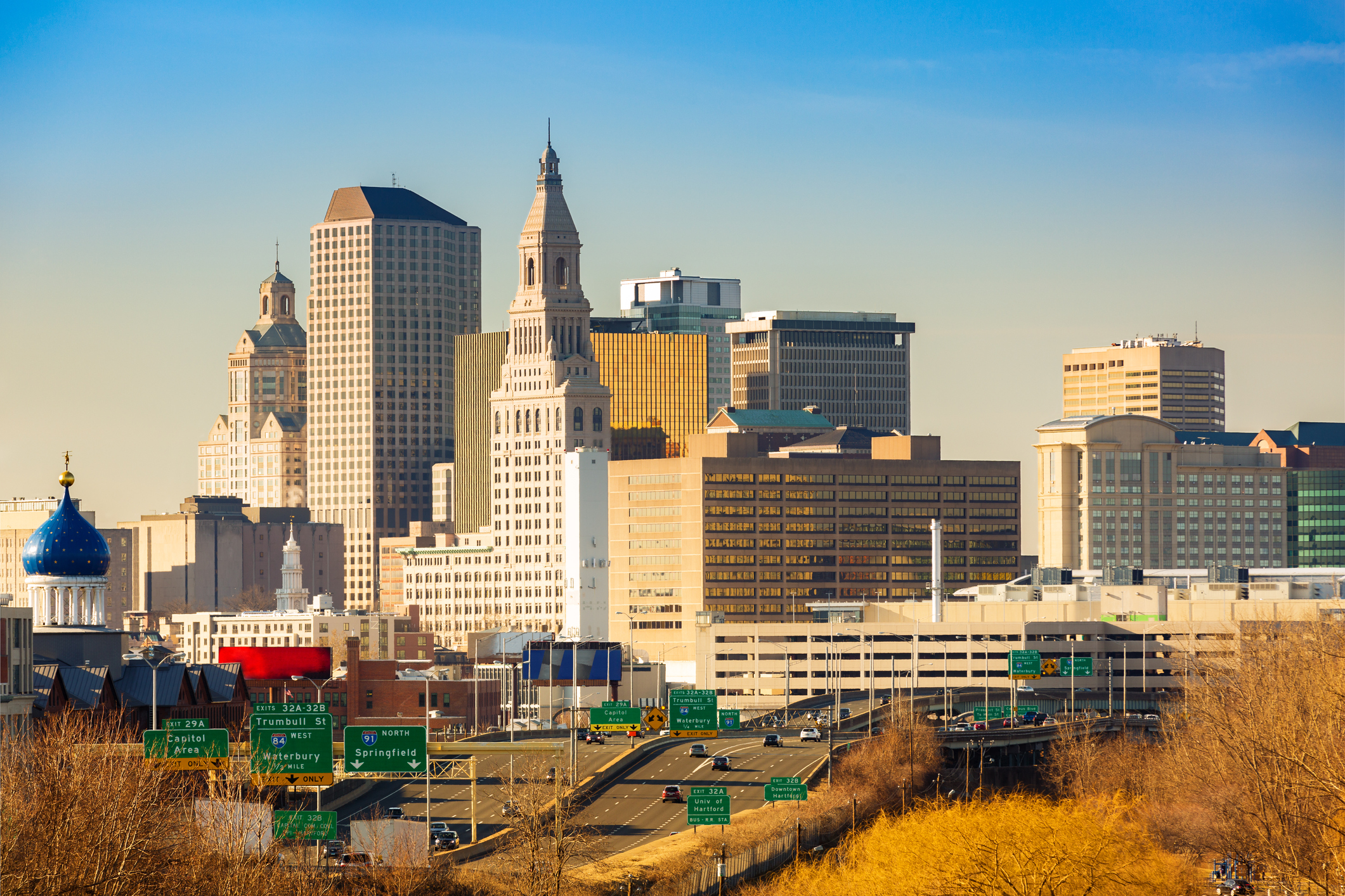 Hartford skyline on a sunny afternoon. (Ultima_Gaina/Getty Images)