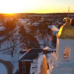 UConn campus in the snow. (Angelina Reyes/UConn Photo)