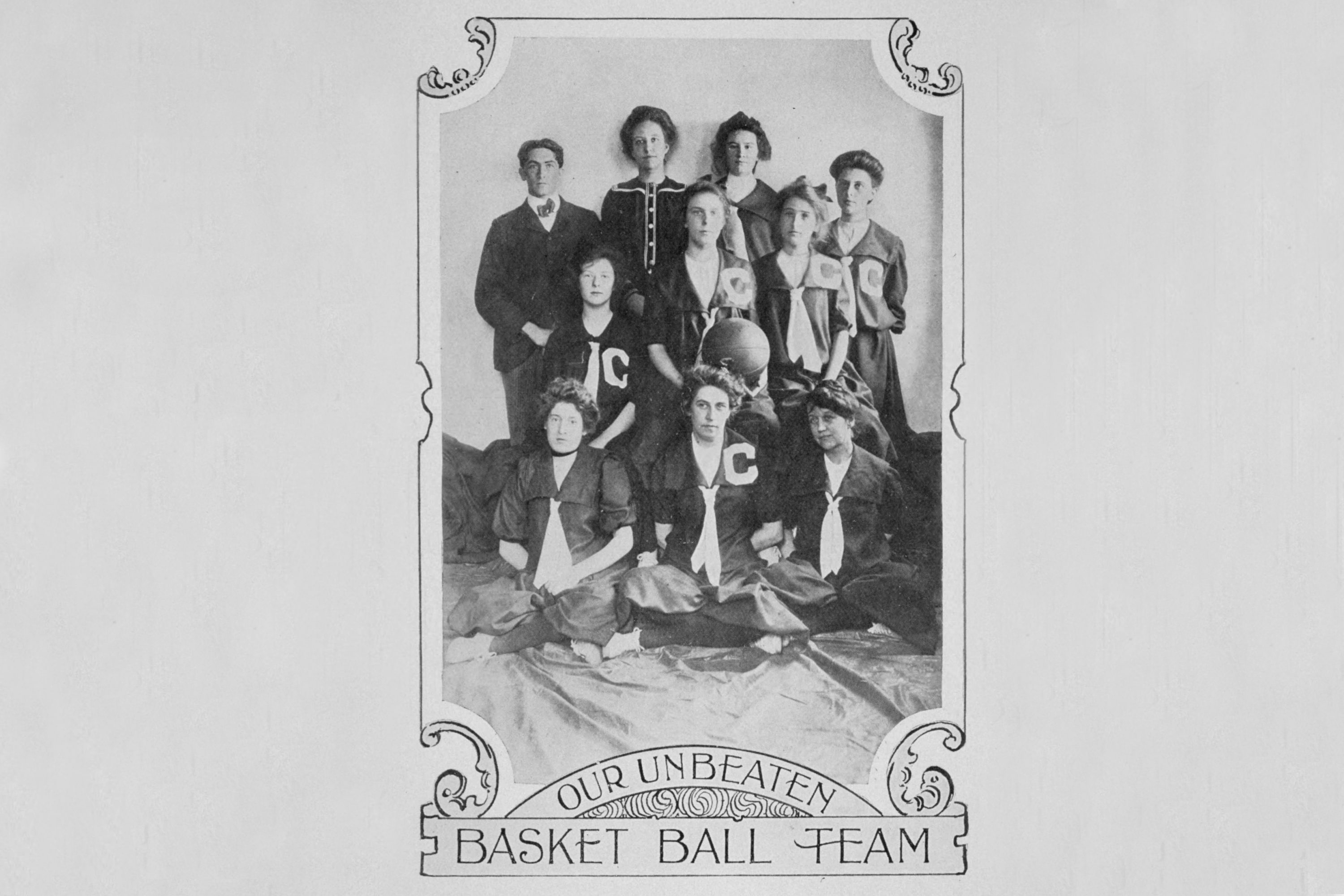 As we celebrate our women's basketball team equaling their previous unbeaten record of 90 games, we look back to the very earliest days of women's basketball in Storrs, when the team boasted an unbeaten season as far back as 1902. (Archives & Special Collections, University Library)
