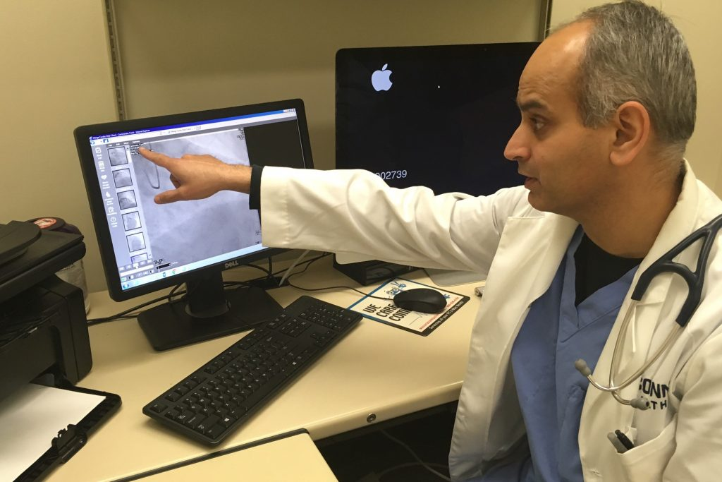 Dr. Aseem Vashist, interventional cardiologist and associate professor of medicine at the Calhoun Cardiology Center at UConn Health. (Lauren Woods/UConn Health Photo)