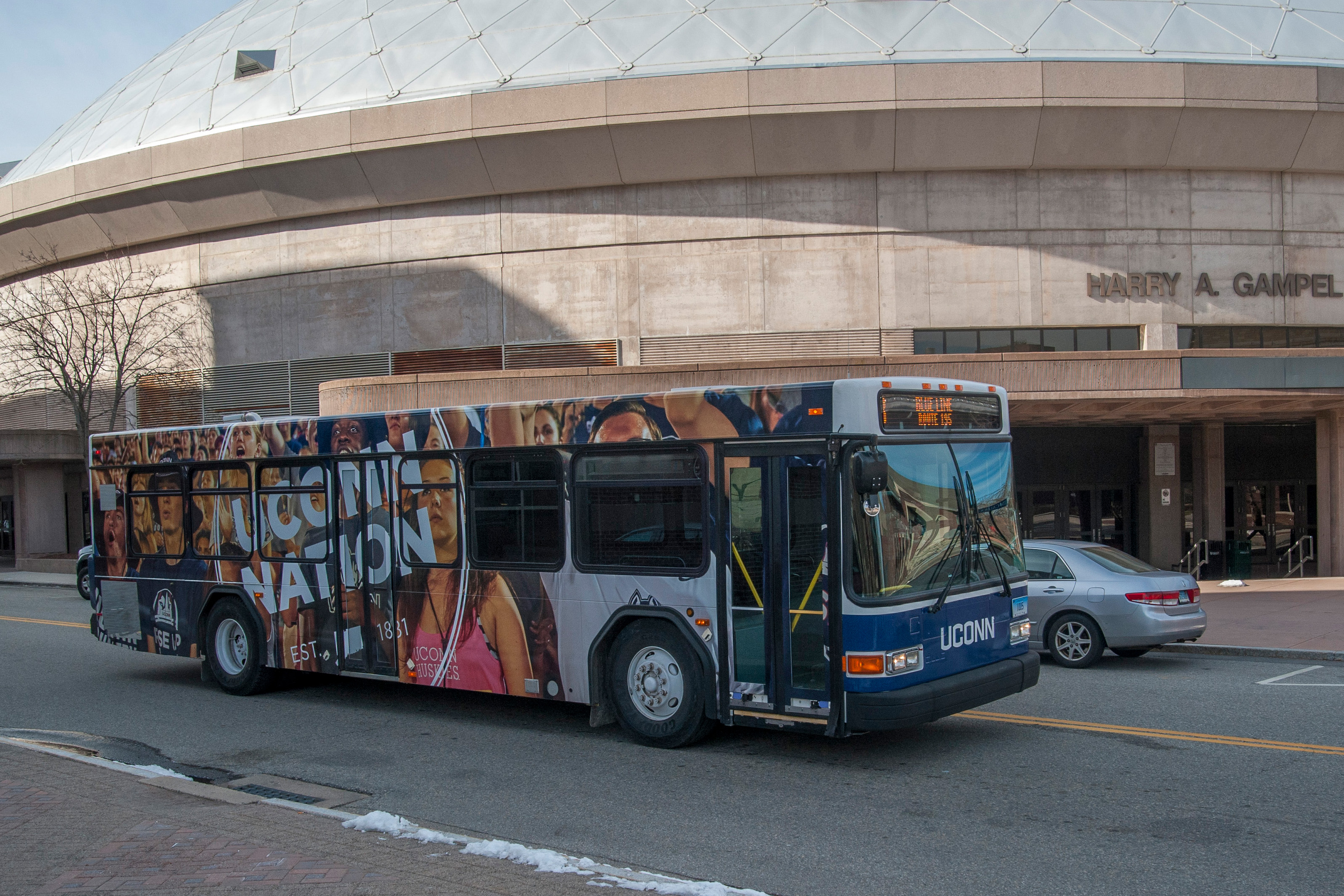 Views of the UConn Nation transportation buses on Jan. 7, 2016. (Sean Flynn/UConn Photo)