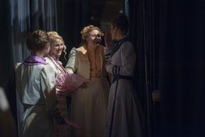 From left, Jessica Bloch '17 (SFA), Haley Stoliker '19 (SFA), Michelle Wedge '20 (SFA), Caroline O'Dwyer '11 (SFA), '18 DMA backstage at Jorgensen during the dress rehearsal of H.M.S. Pinafore on Jan. 24, 2017. (Sean Flynn/UConn Photo)
