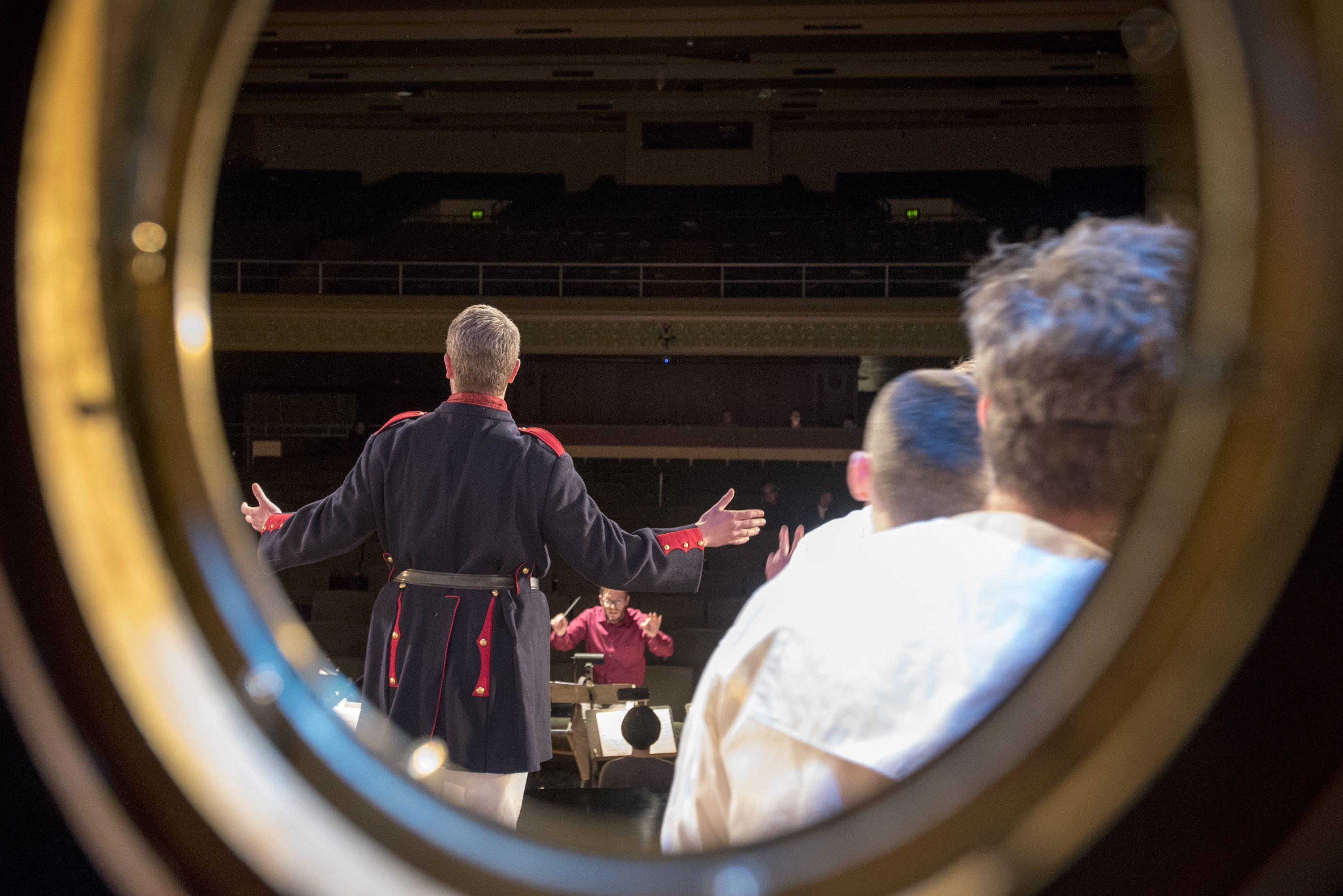 Photos taken from backstage at Jorgensen Center for the Performing Arts during the UConn Opera production of Gilbert & Sullivan's comic operetta H.M.S. Pinafore on Jan. 24, 2017. (Sean Flynn/UConn Photo)