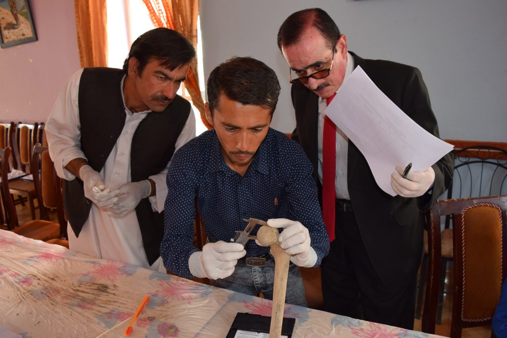Physicians for Human Rights partners from the Afghanistan Forensic Science Organization take part in a grave exhumation exercise in Bamyan province, Afghanistan. (Physicians for Human Rights Photo)