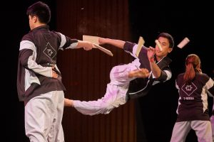 T-Huskies, the UConn taekwondo demonstration team, perform during Asian Nite. (Peter Morenus/UConn Photo)