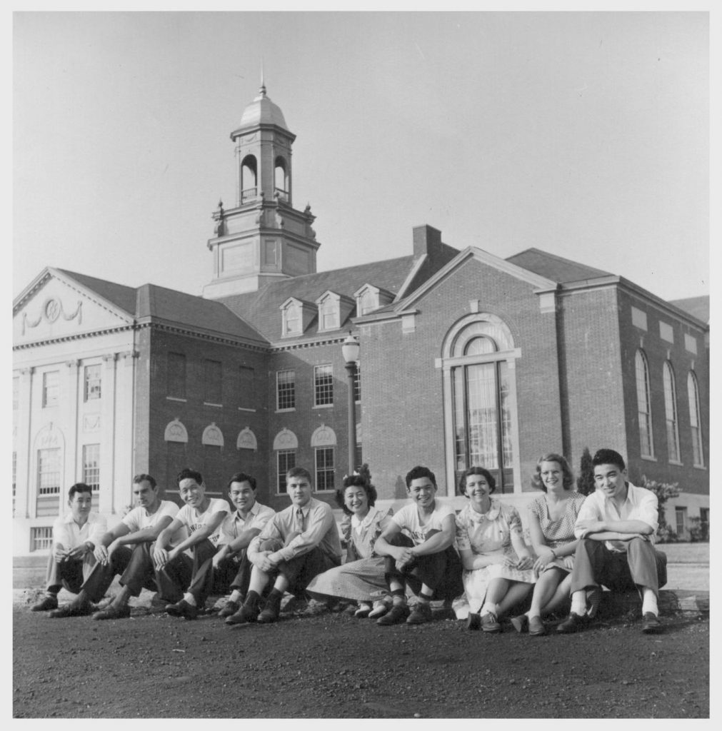 A group portrait at the University of Connecticut, August 1944. From left, Yoneo Ono (Poston & Bakersfield, Calif.); Ray Cudler, Tokiyi Furuta (Poston & San Diego, Calif.); Ken Nakuoka (Denson & Torrance, Calif.); Richard Pinkovitch, Edna Sakamoto (Tule and Denson); Jim Nakano (Topaz & Redwood City, Calif.); Jean Wengolin, Barbara H. Perkins, Kei Hori (Heart Mountain & San Francisco, Calif.). (Photo by Hikaru Iwasaki, courtesy of the Bancroft Library at the University of California-Berkeley)
