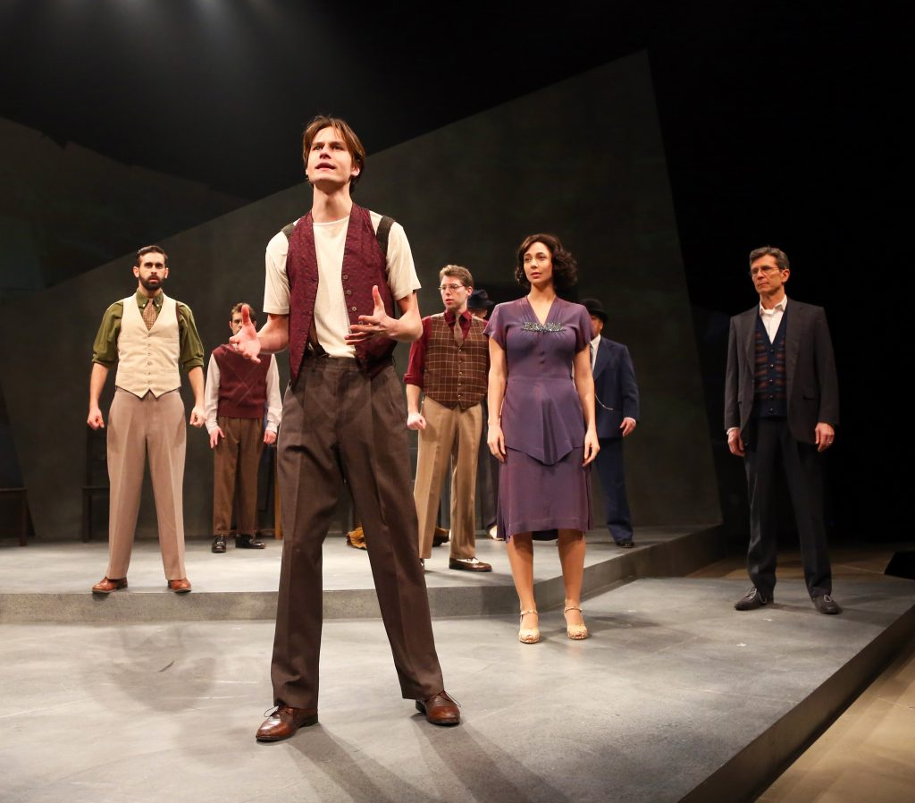 Ben Senkowski '17 (SFA) and the cast prepare to strike in Connecticut Repertory Theatre's production of 'Waiting for Lefty' by Clifford Odets, onstage through March 5 at Nafe Katter Theatre. (Gerry Goodstein for UConn)