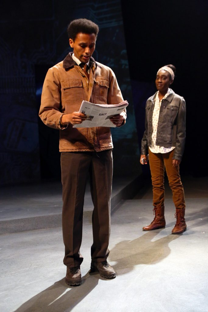 Samuel Kebede MFA '17 and Shavana Clarke '17 (SFA) in Connecticut Repertory Theatre's production of 'Severance,' by Levi Alpert '15 (SFA) onstage through March 5 at Nafe Katter Theatre. (Gerry Goodstein for UConn)