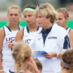Hall of Fame coach Nancy Stevens speaks with her team. (Stephen Slade '89 (SFA) for UConn, File Photo)