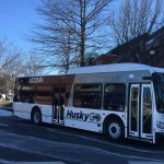 UConn is rolling out 10 new buses, complete with USB ports, bike racks, and other updated features. (Sean Flynn/UConn Photo)