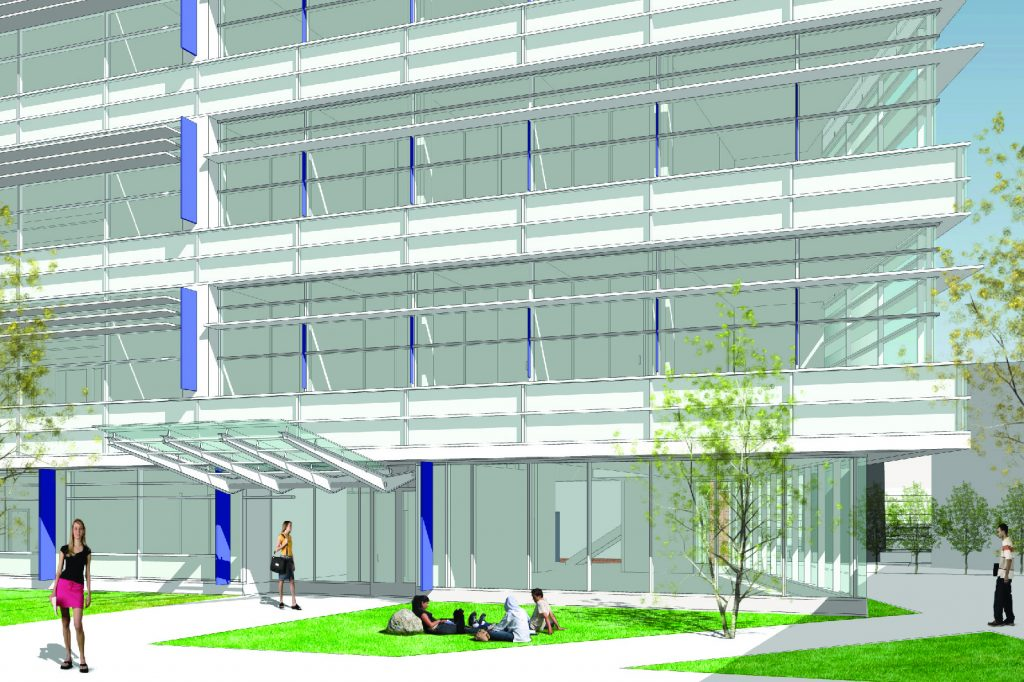 A rendering of the exterior of the new Engineering and Science Building.