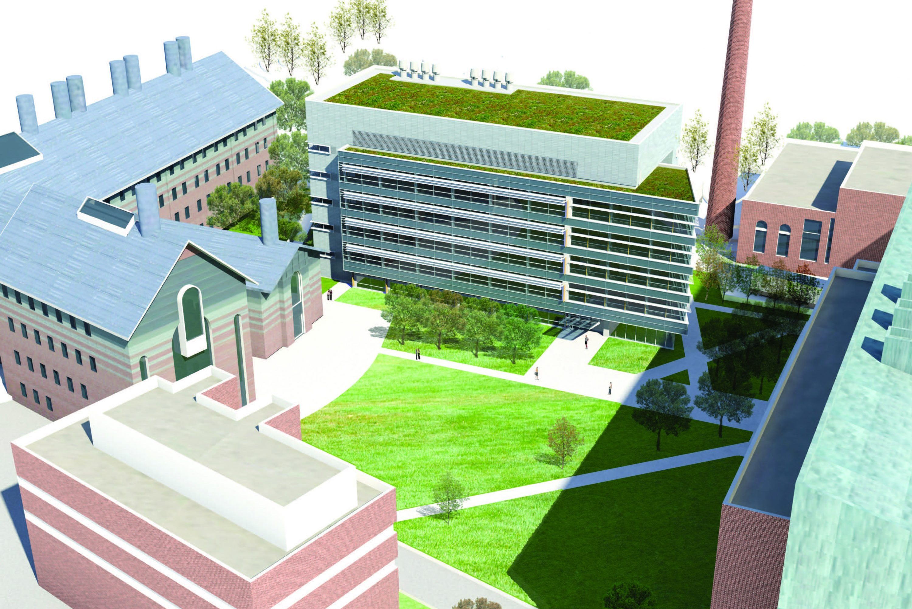 Aerial rendering of the exterior of the new Engineering and Science Building.