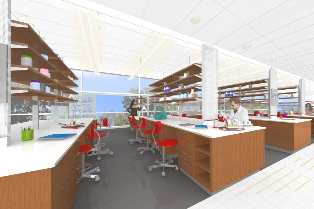 Rendering of a lab in the new Engineering and Science Building.