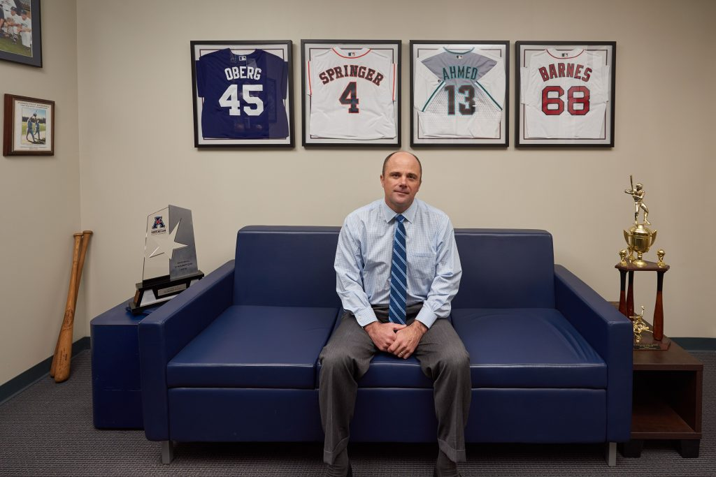 UConn baseball head coach Jim Penders at his office on March 1, 2017. (Peter Morenus/UConn Photo)