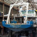 The R/V Connecticut inside the building where it will be split and lengthened at Blount Boats. (UConn Marine Sciences Photo)