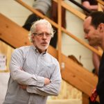 "Terrence Mann, artistic director of the Connecticut Repertory Theatre Nutmeg Summer Series, leads a rehearsal of ""1776"" at the Drama-Music Building. (Peter Morenus/UConn Photo)"