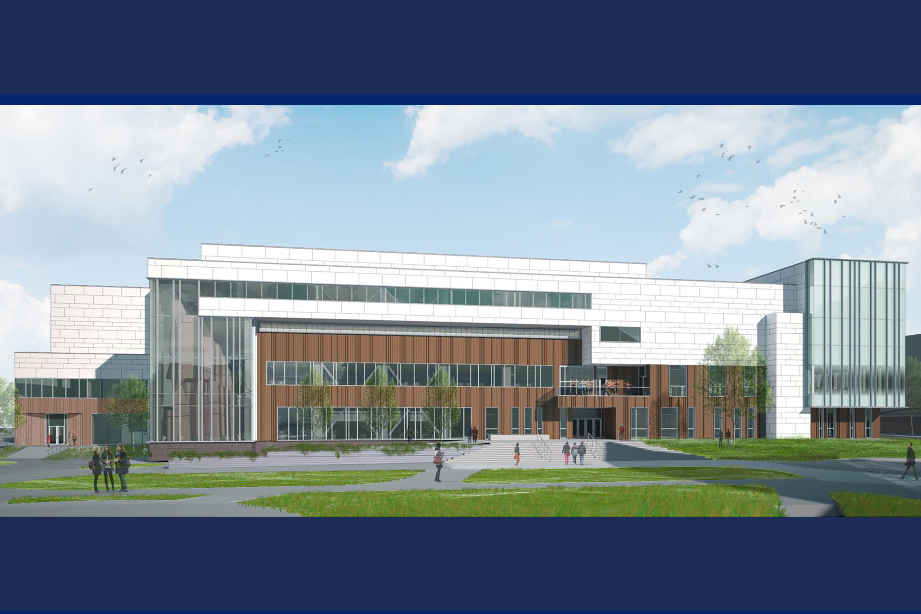 Architectural rendering of the view of the Recreation Center from Business School Quad.