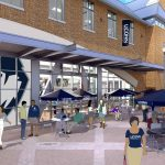 An artist's rendering of outdoor space outside the renovated UConn Bookstore on Hillside Road. (Rendering by Barnes & Noble College)