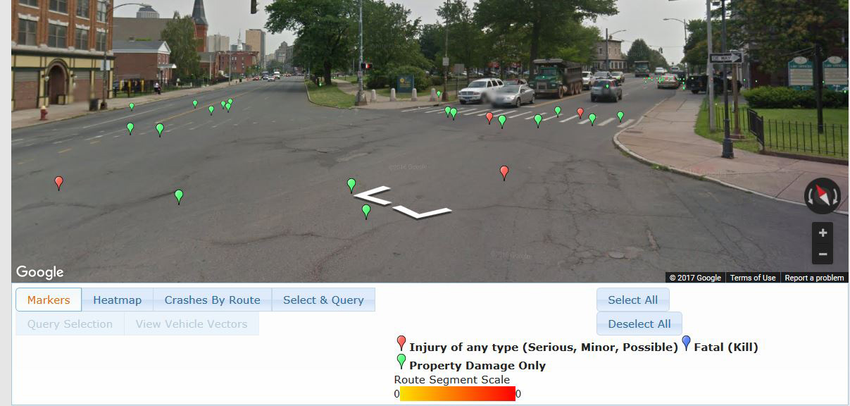 A close-up Google street view of the same Hartford intersection, showing where accidents occurred.