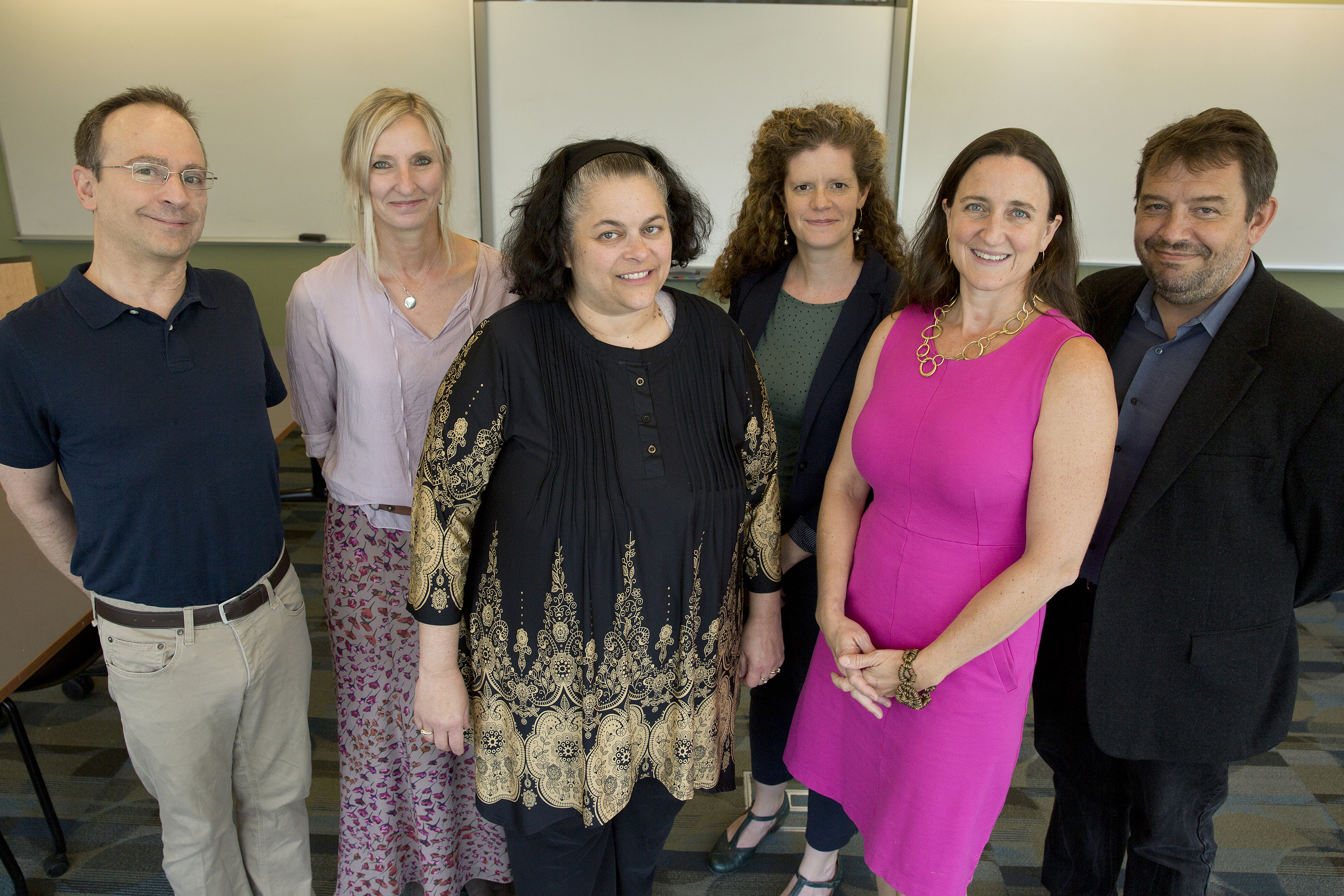 From left, professor of linguistics William Snyder; professor of psychological sciences R. Holly Fitch; professor of educational psychology Betsy McCoach; associate professor of speech, language, and hearing sciences Emily Myers; associate professor of psychological sciences Inge-Marie Eigsti; and professor of psychological sciences James Magnuson. (Bri Diaz/UConn Photo)